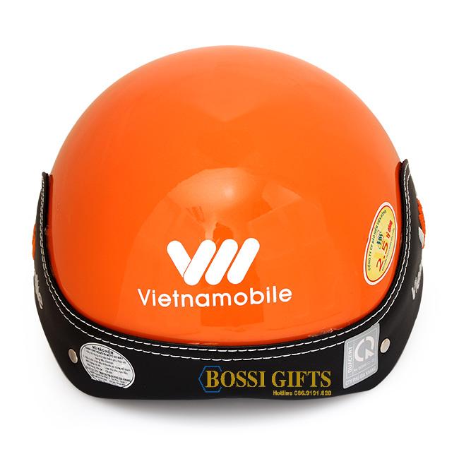 Mũ bảo hiểm bọc da thêu logo_ VNmobile