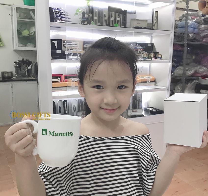 Ly sứ/cốc sứ, gốm sứ Bát Tràng - in logo Manulife