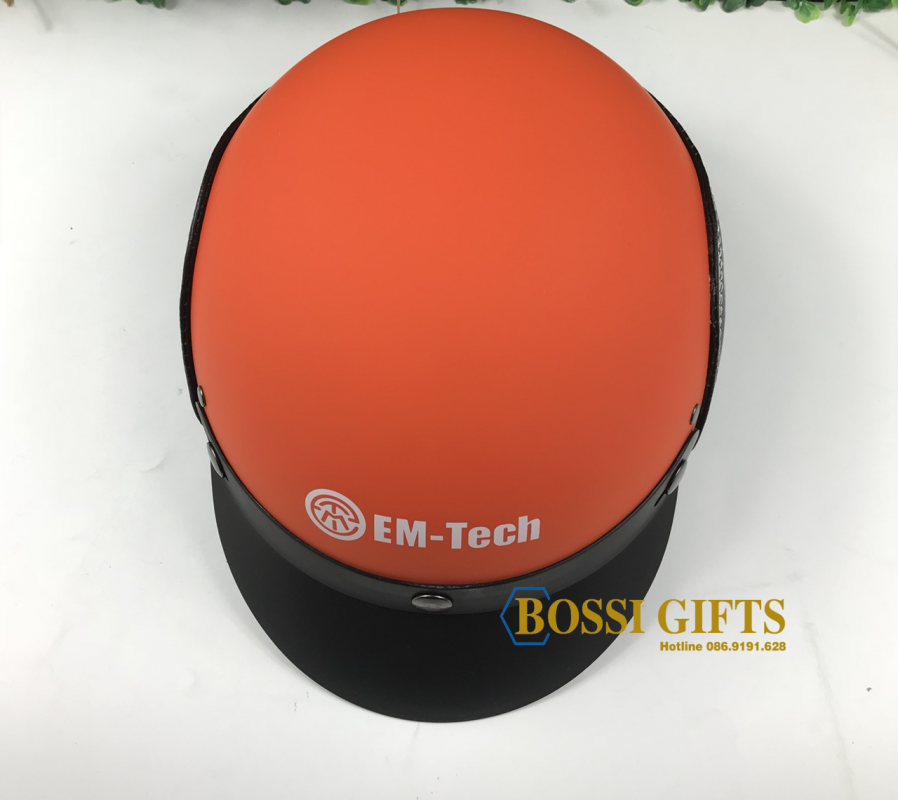 Mũ BH nhựa nguyên sinh bọc da - thêu logo EMTech