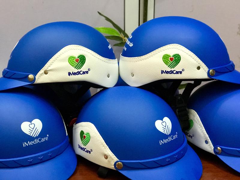 Mũ bảo hiểm bọc da thêu logo_ TBYT Việt Mỹ. iMedicare