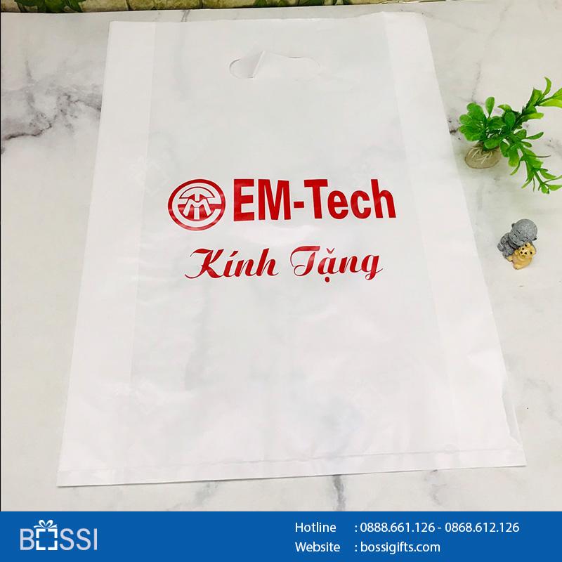 Túi nilon HD trắng sứ - Logo Emtech